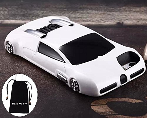 """(White) Iphone 5 Cool 3D Lifelike Sports Car Style Cover for Apple Iphone 5s Anti-slip Hard Back Case with Convertible Kick Stand,+ Cellphone Pouch with """"Head Malory"""" Logo Gift"""