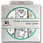 Muslin Swaddle Blankets 100% Soft Muslin Cotton 3 Pack Large 47 x47  Unisex Shower Gift Baby Girl or Baby Boy