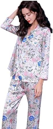 Escote Jersey Conjunto de Pijamas Ropa Casual para Mujeres Camisa de Mujer Pijamas de Seda Pantalones de Manga Larga de Seda de Verano Conjunto de 2 Piezas Conjuntos Deportivos: Amazon.es: Hogar
