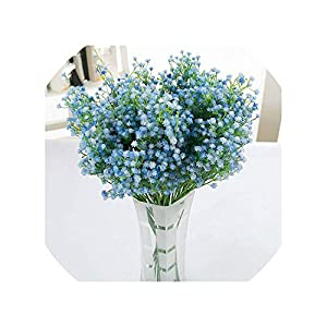 DIY Light Blue Artificial Flower Fake Silicone Plant for Wedding Home Hotel Party Decorations,1 30