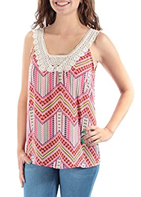 Miss Chievous $20 Pink Chevron Embellished Square Neck Sleeveless Top XS B+B
