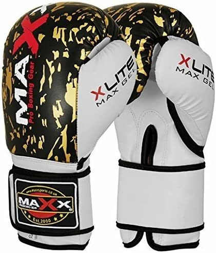 16oz Pair of Leather Boxing Gloves black /& Gold punchbag Martial arts 8oz