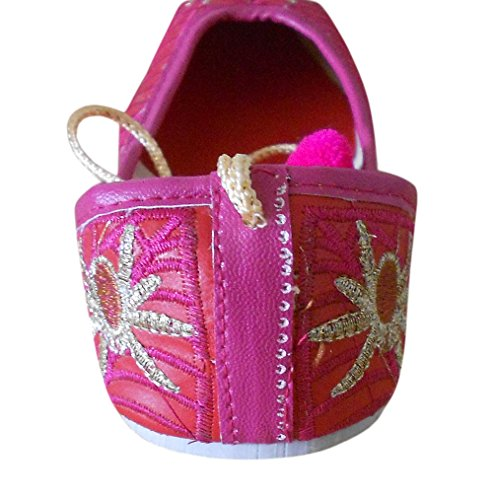 KALRA Creations Traditionelle indische Faux Leder mit Stickerei Damen Ballerinas Pink-Red
