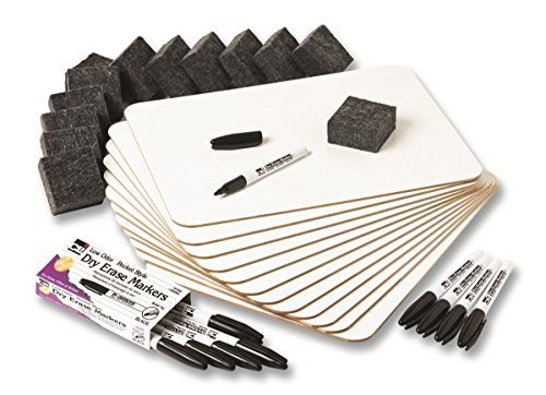 Charles Leonard Dry Erase Lapboard Class Pack, Includes 12 Each of Whiteboards, 2 Inch Felt Erasers and Black Dry Erase Markers - Erase Kit Dry Board