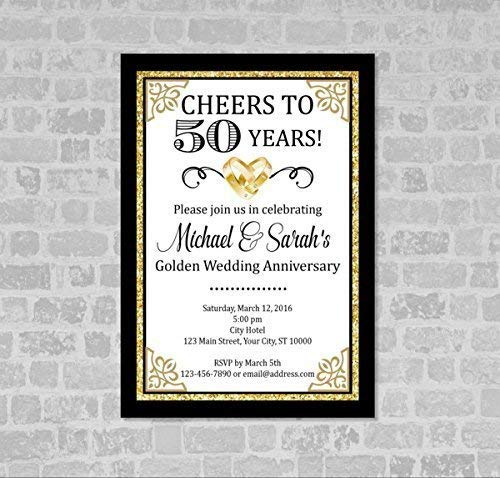 50th Wedding Anniversary Invitation, Black And Gold 50th Anniversary Invitation, Golden Anniversary Invite, Cheers to 50 Years, Custom Personalized Formal Elegant 50th Anniversary Invitations