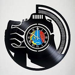 Photographer Camera - Handmade Design Vinyl Wall Clock - World Decor Vinyl Record Wall Clock - Exciting kidsroom decor - perfect gift idea for children, adults, men and women