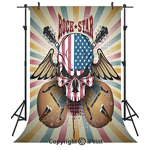 (Guitar Photography Backdrops,Retro Style Composition Angry Skull American Flag Pattern Wings Electric Guitars Decorative,Birthday Party Seamless Photo Studio Booth Background Banner 6x9ft,Multicolor)