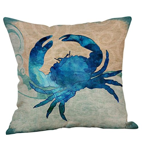 Throw Pillow Case Cushion Cover 18x18,Clearance Sale! Jiayit Ocean Beach Sea Invisible Zipper Pillow Covers for Living Room, 18x18 Inch (A)