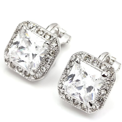 FC JORY White Gold Plated Square CZ Halo Princess Cut Solitaire Clip On Earrings by FC JORY (Image #1)