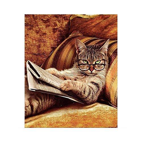 Daily Sweet 油絵 数字キットによる絵画 塗り絵 大人 手塗り DIY絵 デジタル油絵 40x50cm 絵具と絵筆付き (読書してるネコ)