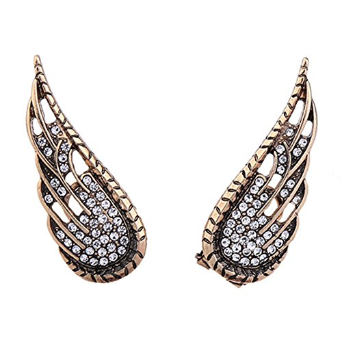 Antique 18K Gold Plated Cubic Zirconia Hollow Big exaggerated Angel Wings Women Stud Earrings (Earring Angel Display)