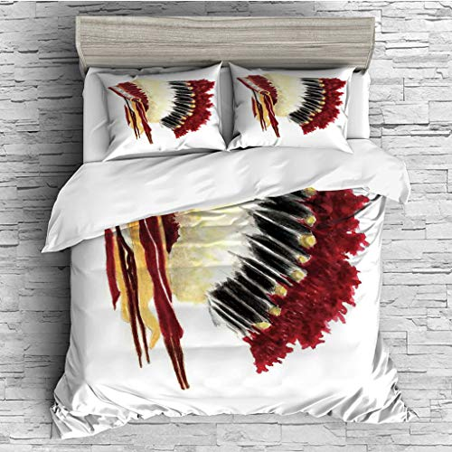 SCOCICI Queen Size Duvet Cover Set/Native American,Original Ethnic Symbolic Mystic Eagle Feather Headdress Indian Life Style,White Red Black / 3 Piece Bedding Set -