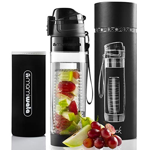 MAMI WATA Fruit Infuser Water Bottle – Beautiful Gift Box – Unique Stylish Design – Free Fruit Infused Water Recipes eBook and Insulating Sleeve – 24oz (Black)