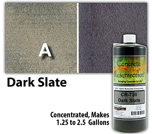 Concrete Stain, Dark Slate, Concentrate 32 Oz. Just Add Water, User & Eco-Friendly Semi-Transparent Professional Grade Cement Stain, Concrete Resurrection Brand