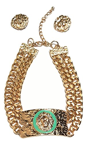 LION FACE PLATE NECKLACE SET (Turquoise) (Faceplates Turquoise)
