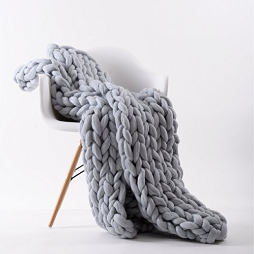 HK Handmade 19 Microns Merino Wool Yarn Soft Chunky Knit Throw Blanket (Size M 3947, Color Grey)
