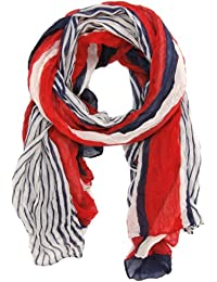 Nautical Red White and Blue Stripe Scarf