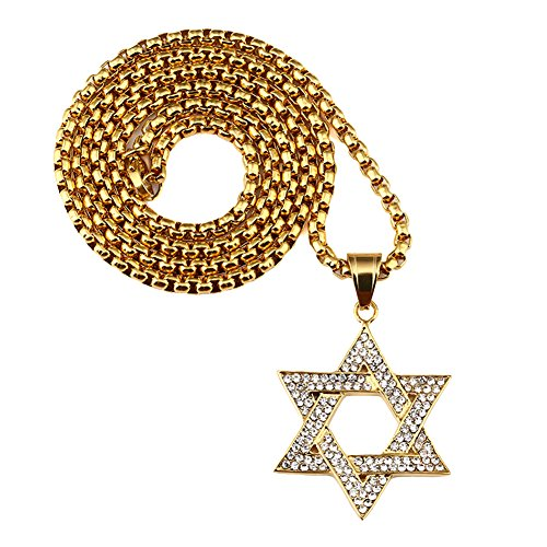 (Men's 316L Stainless Steel Religions Hexagram Necklace Shiny Zirconia Star of David Charm Pendant Gold)