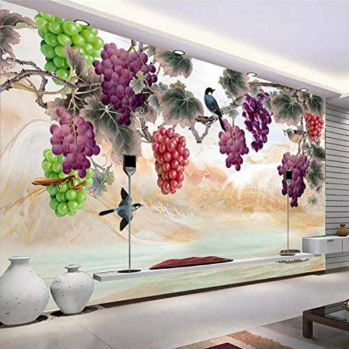 3D Mural Wallpaper, Large Size Modern Abstract Colorful Birds And Grapes Landscape Pictures 5D Print Silk Cloth Fabric Art Decor For Walls Living Room Bedroom Dining-Room Office,380Cm(W) X 240Cm(H) (1