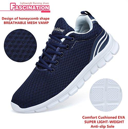 Belilent Heren Lichtgewicht Loopschoenen Ademend Atletisch Casual Schoenen Mode Walking Sneakers Marine / Wit-073