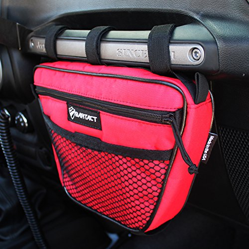 Bartact Universal Jeep Wrangler JK,TJ,YJ,CJ Passenger Grab Handle UV Protected Polyester Dash Bag-Pouch (Red)