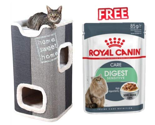 Jorge Trixie Cat Tower Plush and Weave-coated with Cosy Hideaway Den Two Levels & Lookout Platform with Reversible Cushions + Royal Canin Digest Sensitive in Gravy