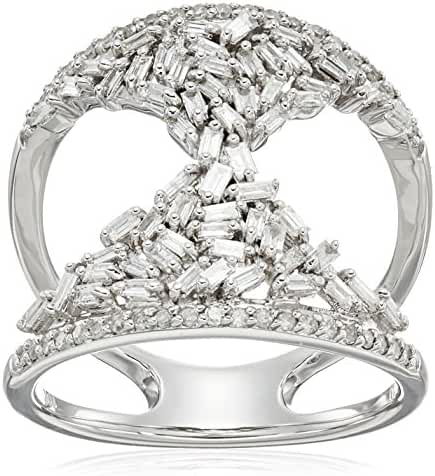 10k White Gold Round and Taper Hourglass Diamond Ring (3/4cttw, I-J Color, I2-I3 Clarity)