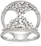 10k White Gold Round and Taper Hourglass Diamond Ring (3/4cttw, I-J Color, I2-I3 Clarity), Size 6
