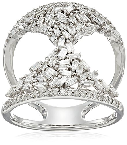 10k White Gold Round and Taper Hourglass Diamond Ring (3/4cttw, I-J Color, I2-I3 Clarity), Size 6 by Amazon Collection