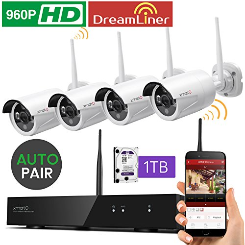 [Dream Liner 8CH] xmartO WOS1384-1TB AUTO-PAIR 8 Channel 960p HD Expandable Wireless Surveillance Camera System with 4x 960p HD Outdoor Wireless Cameras and 1TB Hard Drive Pre-installed