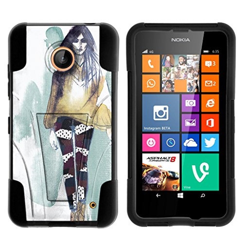 Compatible with Nokia Lumia 635 / Nokia Lumia 630 Case Skin Hybrid Shell High Impact Cover Two Layer Case Silicone Hard Shell Kickstand Case by TurtleArmor - Runway Model (Cute Cases For Nokia Lumia)