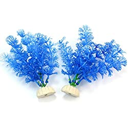 ReFaXi 2 Pcs Artificial Water Plant Fish Tank Aquarium Ornament Landscape Decoration (Blue, 15cm)