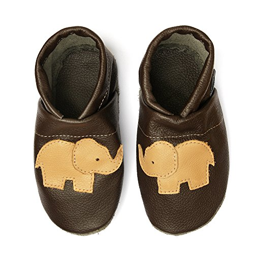 pantau.eu Lederpuschen Leder Hauschuhe Puschen Pantoffeln Schluffen Patschen Schlappen mit Elefant, Größen 36-45 DUNKELBRAUN_APRICOT