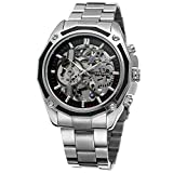 Sweetbless Wristwatch Men's Steampunk 3d Skeleton Mechanical Watch Black Self-Winding Watches