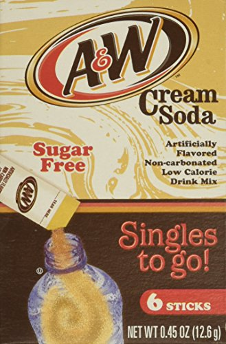 (A&W Cream Soda Singles To Go Powder Packets - Sugar Free, Non-Carbonated Cream Soda Flavored Water Drink Mix, 6 Count ( Pack Of  12 ))