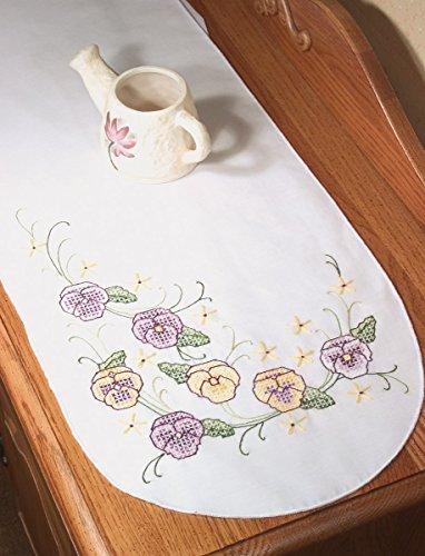 - Fairway 18274 Dresser Scarf, Cross Stitch Pansy Design, White, Perle Edge