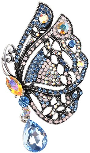 Gyn&Joy Silvery Tone Butterfly Brooch Pin Necklace with Iridescent Blue Crystal Rhinestone Insect Wings Fashion Jewelry