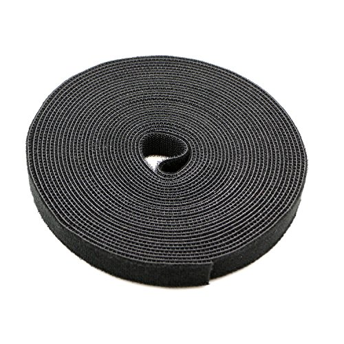 Saisn Reusable Fastening Tape Cable Ties 3/4-Inch Double Side Hook Roll (10 Yard, Black)