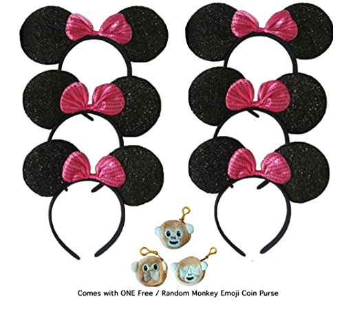 Build Your OWN Family Pack Mickey Mouse Style Ears Kids Adults/Minnie Mouse Style Ears Boys, Girls, Children, Parties, Disneyland, Festivals, Halloween (6 Sparkling Black w/Pink Bow)