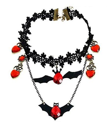 SunIfSnow Women Halloween Black Bat Red Crystal Lace Collar Choker (Diy Halloween Costumes Little Black Dress)