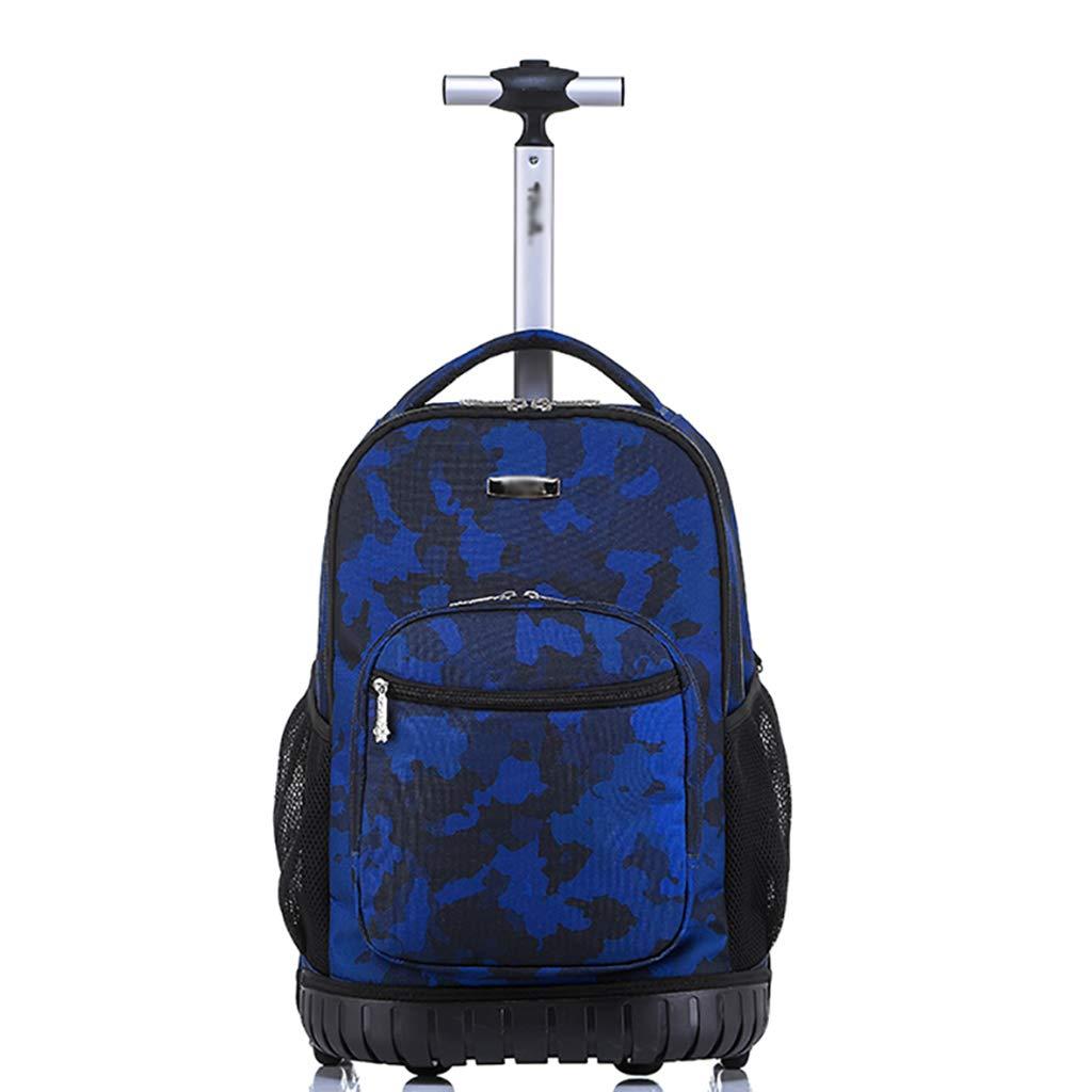 学校のラップトップバッグを旅する少年のためのトロリーバックパック大容量ストレージウィールドローリングバックパック防水旅の荷物   B07QPTWY7W