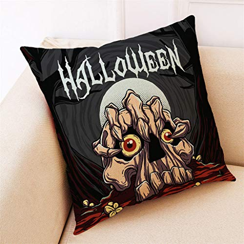 Aqua Halloween Lyrics (Unionm 17# Pillow Covers Decorative Throw Pillow Case Halloween Theme Printed 45cm x 45cm 18 x 18 inches Cushion Cover for Home Sofa Car 1)