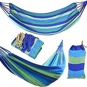 Gifftiy Amaca Jardin Exterior Hamaca Playa 280 * 80Mm 2 Personas Hamaca Rayada Cama De Ocio Al Aire Libre Cama De Lona Gruesa Colgando Hamaca para Dormir para Acampar Caza-Azul