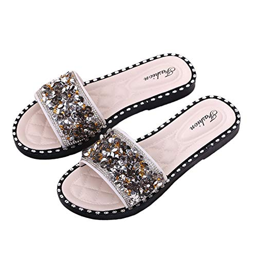iFANS Women Shiny Rhinestone Flat Sparkle Glitter Slip On Casual Slides Sandals Slipper Beige ()