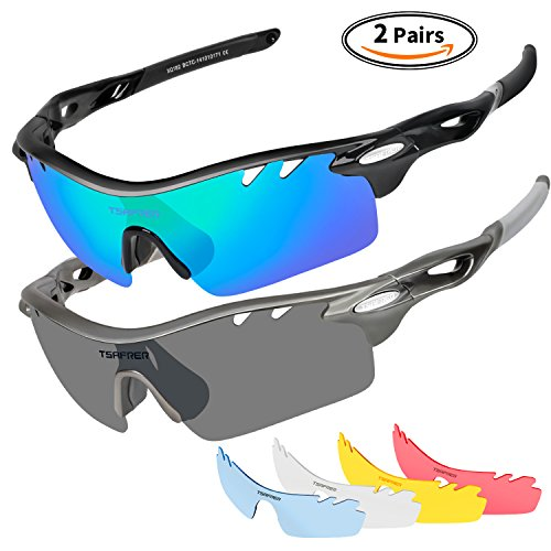 c5f9060fb87 Polarized Sports Sunglasses 2 Pairs for Men Women Cycling Running Driving  Fishing Baseball Golf. by tsafrer. Color  Blue Black Grey