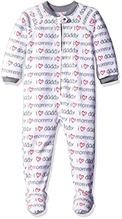 The Children's Place Girls' Printed Blanket Sleeper, Family/Simply White, 0-3 Months