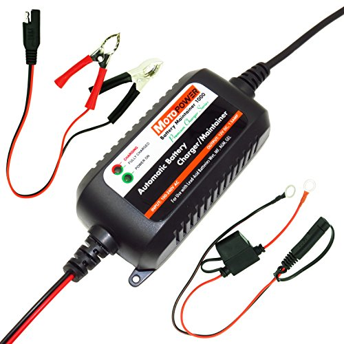 MOTOPOWER MP00206A 12V 1.5Amp Fully Automatic Battery Charger / Maintainer for Cars, Motorcycles, ATVs, RVs, Powersports, Boat and More. Smart, Compact and Eco - Battery Voltage Charger Constant