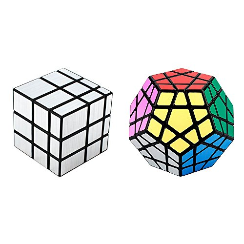 e Pack of 2 Speedcubing Megaminx Cube Puzzle and Silver Mirror Cube Black (Megamix Set)
