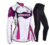 sponeed Women's Cycle Jersey Bike Clothing Gel Padded Long Sleeve Nobility Size S US Purple