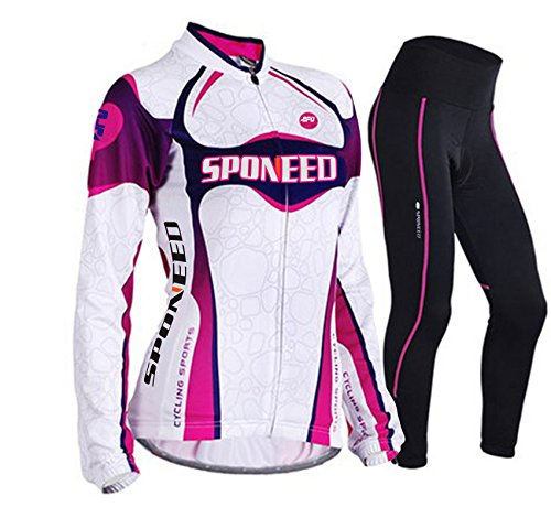 sponeed Women's Cycle Jersey Bike Clothing Gel Padded Long Sleeve Nobility Size L US Purple
